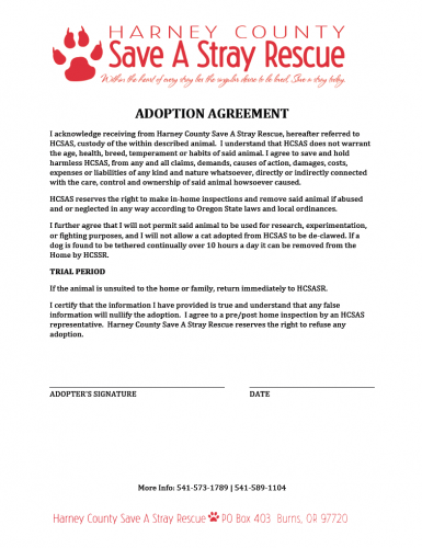 HCSAS adoption agreement