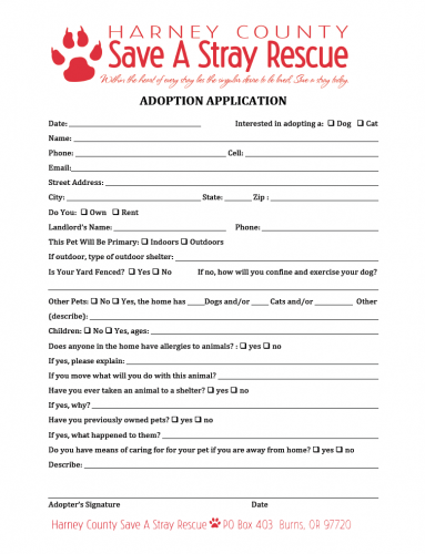 HCSAS adoption application